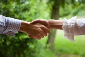 handshake in the woods